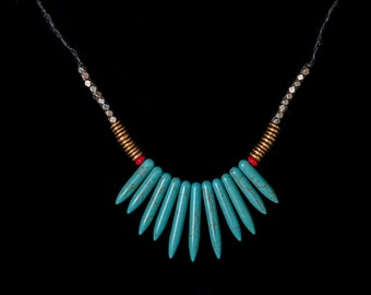 Turquoise and Coral Fringe Necklace