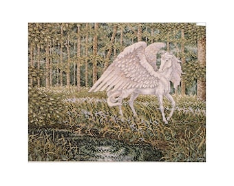 Pegasus Cross Stitch Pattern Chart Fantasy Decor Pillow Top Picture Teresa Wentzler Flying Winged Horse to Embroider Vintage Pegasus