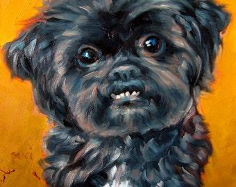 "Shihtzu Smiles, custom Pet Portrait Oil Painting by puci, 8x8"""