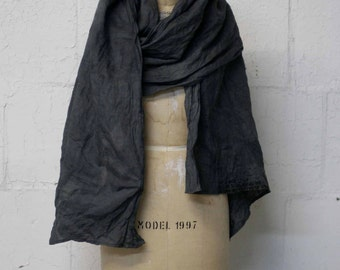 Linen Accessories Scarf , Gray Printed Linen Scarf, Unique Gifts