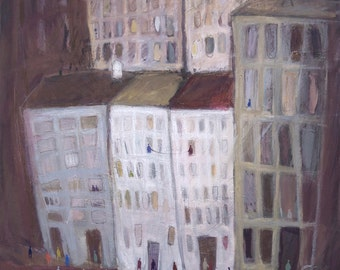 Evening in the city - New York City Art, Original oil painting, collage, Mixed Media, Street Art, Manhattan, Cityscape