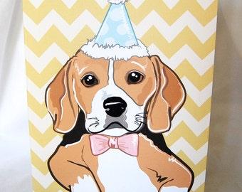 Chevron Beagle Greeting Card