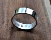 Men's Mirror Shine Secret Message Ring. Custom Stamped Sterling Silver Wedding Band. Personalized. Personalised. 6mm. Flat Ring. Eco.
