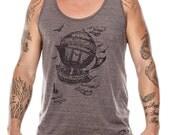 Vintage Steampunk Men's Tank Top Airship Eco Brown summer shirt