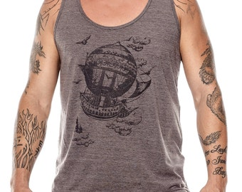 SALE - Airship tank top, Vintage Steampunk Men's Tank Top, Unisex tank top, Hot air balloon