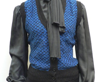 SPECIAL OFFER-vintage 1970s blue and black knit Sweater Button Up Vest / sleeveless cardigan