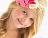 Pink Angel Crown, braided flower girl, boho wedding accessory