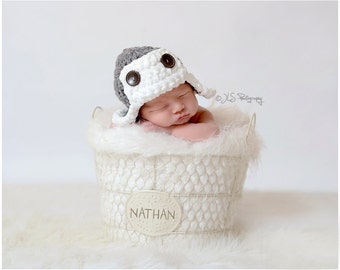READY TO SHIP Baby boy hat - Newborn Aviator Hat - you pick the color
