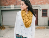 Circular Cowl in Gold // Wide infinity knitted Scarf // Golden Sunshine Knit Snood