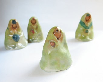 Green Goddess Ceramic Miniature Sculpture Abstract Minimalist