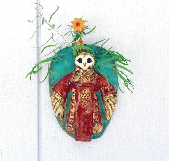 Ceramic Owl Shaman Wall Vase and Interactive Sculpture - OOAK Art Sculpture Vessel Owl Decor