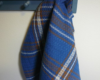 Handwoven Tea Towel Dishtowel - Blue Plaid