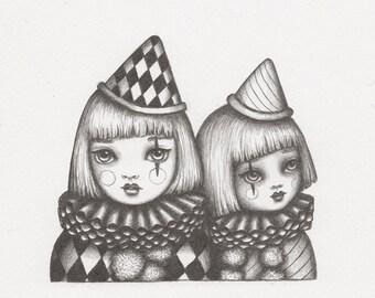 Little Pierrot - Original Pencil Drawing