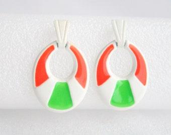 Neon Orange Green Earrings Vintage White New Wave Door Knocker Metal Dangle Earrings