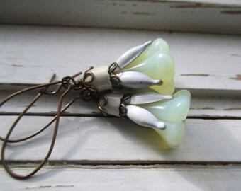 Blossom dangle earrings, floral drop earrings, vintage enamel and copper, bridesmaid earrings, wedding jewelry