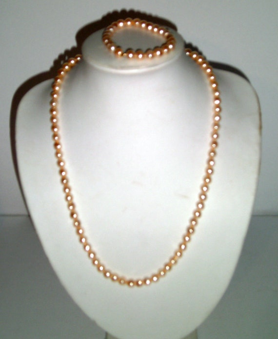 Peach Pearl Necklace: Vintage Necklace And Bracelet Set Peach Champagne Pearl