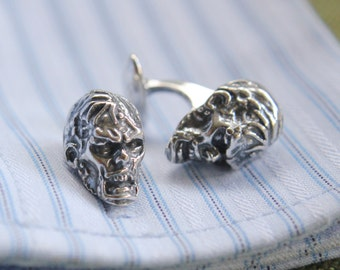 Silver Zombie Head Cufflinks Walking Dead Zombie Cuff Links 340
