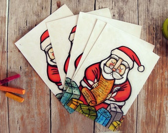 SALE Christmas postcards, Santa Claus (set of 6)