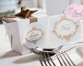 ORNATE BOY BAPTISM Printable Favor Tags - Blue and Brown