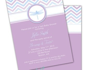 DRAGONFLY Printable Party Invitation - Blue and Purple Printing Available