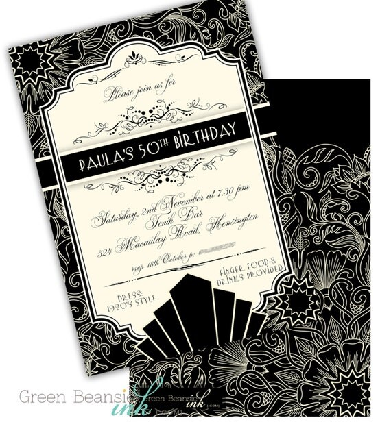 GREAT ROARING 1920S Art Deco Printable or Printed Party – Art Deco Party Invitations