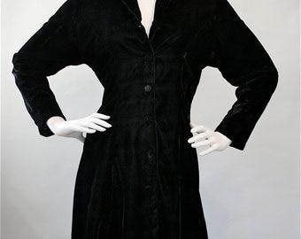 Vintage 80's / 90's Black Crushed Velvet Boho Hippie Grunge Goth Punk Dress