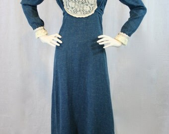 """Vintage 1969 Original Black Label """"Gunne Sax by Jessica"""" Very Rare! Renaissance Style Maxi Dress In Blue with Lace"""