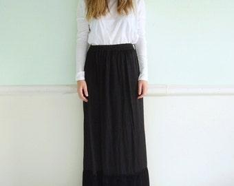 90s Black Slinky High Waist Maxi Skirt with Crushed Velvet Hem - Vintage - Small S Medium M