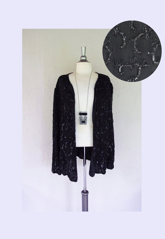 vintage silk sequin beaded DUSTER cape blazer jacket (2XL)