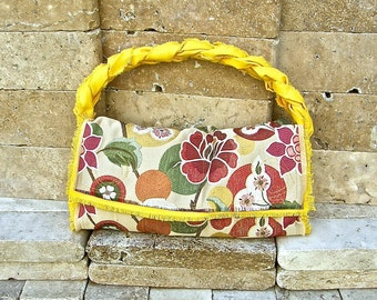Bold and Bright Floral Upholstery Purse and Braided Handle and Interior in a Vibrant Golden Yellow Canvas, Gold Tone Magnetic Snaps