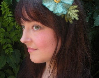 Light Turquoise Icelandic Poppy Flower Headband- You Choose Headband, Clip, or Brooch- Embroidered Silk Flower Fascinator with Leaves