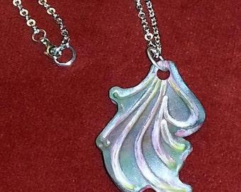 Art Nouveau Florish in Silver and Multi Color Faux Patina