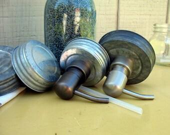 Canning Jar Soap Dispenser Lids. LIDS ONLY. Galvanized Regular or Wide Mouth. Black or Silver soap pump. DIY Mason Jar Soap Dispenser