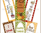 12 Thanksgiving Bookmarks-Fun Gift for School Parties and Teachers- Thanksgiving Kids Table