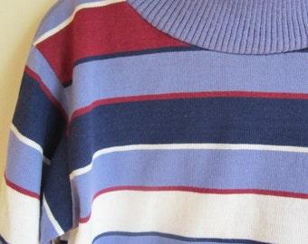 1980s Vintage Childrens Health Tex Blue Maroon Striped T Shirt Turtleneck    4