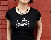 Womens Black Oregon Stag t-shirt