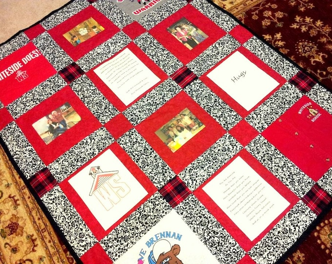 12 Photo Window Memory Quilt - Throw Size with decorative long arm quilting included