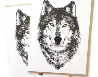 Wolf Card, Box of 6 Cards, Wolf Greeting Cards, blank greeting cards, woodland card, card for him, dad card, thank you card, Dire wolf Card