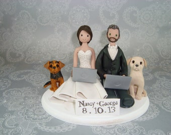 Seated Couple with Pets Personalized Wedding Cake Topper