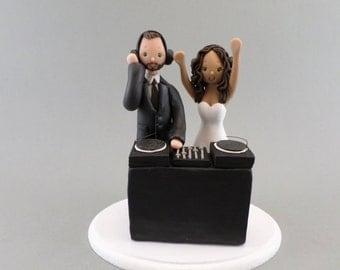 Custom Made Bride & Groom DJ Theme Wedding Cake Topper