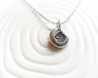 Cupcake Necklace - Hand Stamped, Personalized Cupcake Jewelry - Cupcake Charm - You Are The Icing On My Cupcake