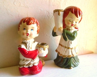 Pair of Holiday Candle Holders Table Decore Boy and Girl with Candles