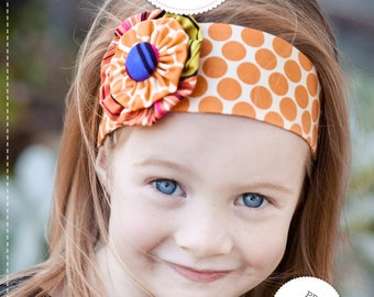 Flower Headband Pattern. PDF Sewing Pattern and Tutorial for Funky Flower Headband, Reversible Head Band, DIY, Instant Download