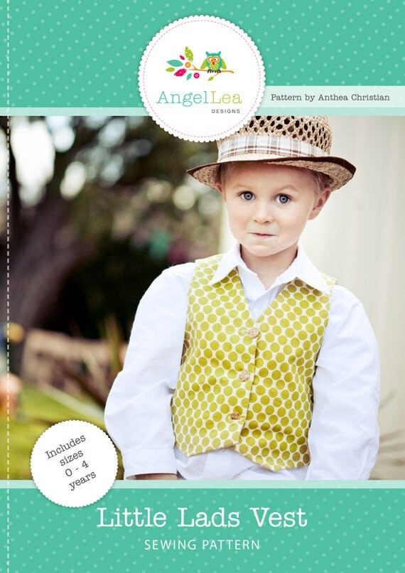 Vest Pattern. PDF Sewing Pattern for Little Lads' Reversible Vest, Waistcoat, Make and Sell, DIY. Sewing Patterns by Angel Lea Designs