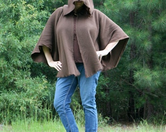 Dark Brown Cotton Monks Cloth Hooded Cape - The Michonne