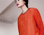 Satin Chiffon Pleat Detail Blouse in Spiced Orange or Iced Blue