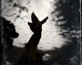 Black and White Cemetery Photography Print, Gothic Angel Statue with Moody Sky