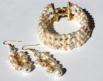 Redesigned Vintage simulated pearls, aurora borealis crystal glass handmade bracelet and earring set, bridal, wedding, special occasion