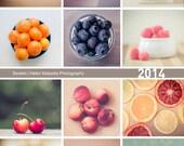 2014 sweets calendar, fruit and sweets photography, 5x7 desk calendar, looseleaf sheet calendar, 12 month calendar