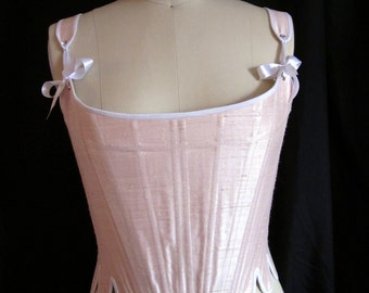 18th Century Corset - Silk or Linen Steel Boned Stays Marie Antoinette 1770s 1780s Made to Order Reenactment Undergarment Colonial Georgian